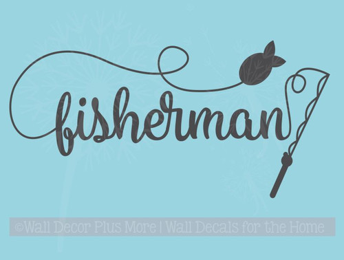 Fishing Tackle Pole Bobber And Hook Wall Decal Vinyl
