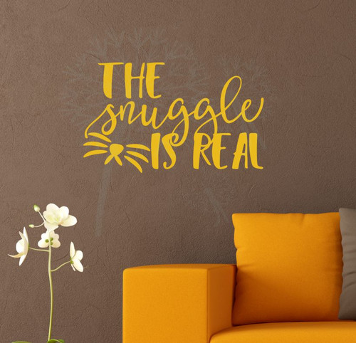 The Snuggle is Real Wall Decal Sticker Wall Words for Animal Pet Owners-Mustard