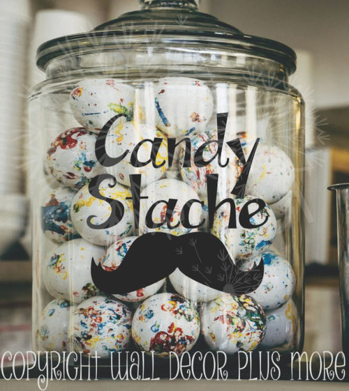 Candy Stache Vinyl Decals Glossy Stickers for Glass or Plastic Containers, Set of 2