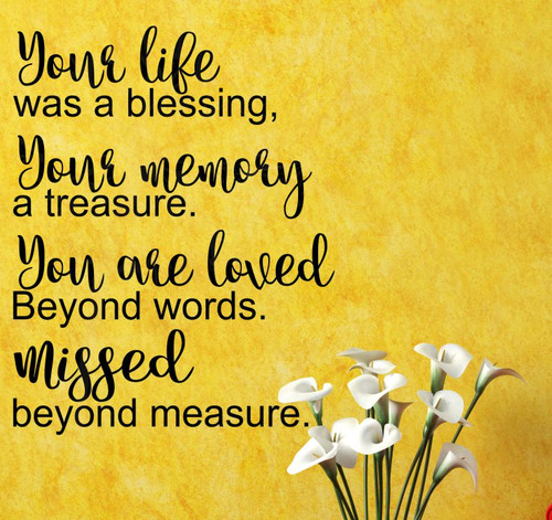 In Memorian, Sympathy And Memory Wall Decals Quotes