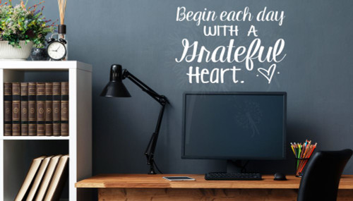 ... Begin Each Day With A Grateful Heart Vinyl Lettering Wall Decals Quotes White  ...