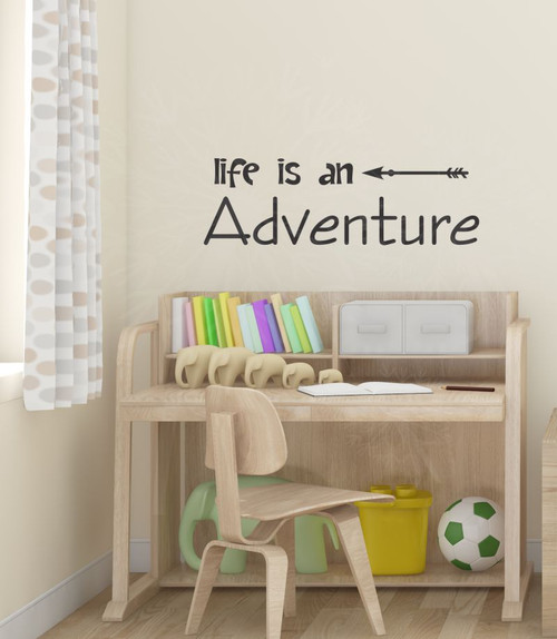 Life Is An Adventure Wall Decal Sticker With Modern Arrow Art-Black