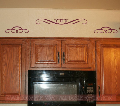 Set of 3 Swirls Curls Wall Art Decals Vinyl Sticker for Home Décor-Burgundy