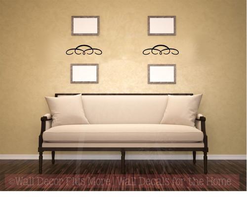 Set of 3 Swirls Curls Wall Art Decals Vinyl Sticker for Home Décor