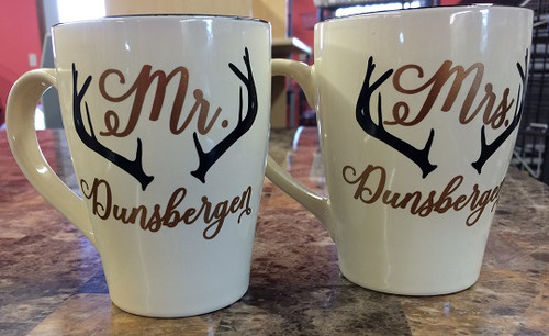 Mr. and Mrs. Antler Mug Tumbler Decals - Color One is Name, Color Two is Antler
