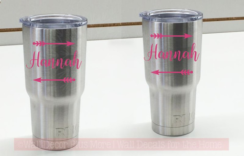 Arrow Personalized Name Tumbler Decals Vinyl Stickers for RTIC Yeti Mugs, set of 2