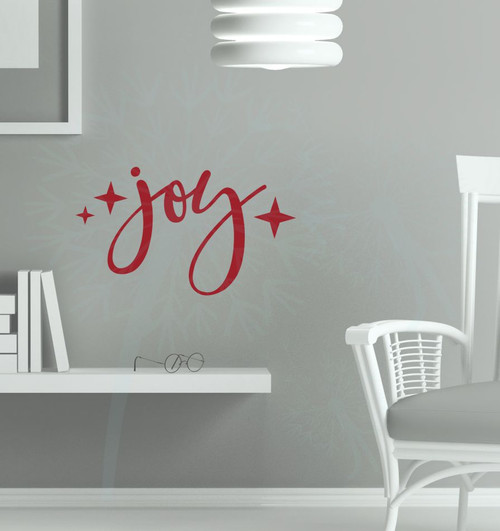 Joy with Stars Wall Lettering Vinyl Wall Decals Holiday Stickers-Red