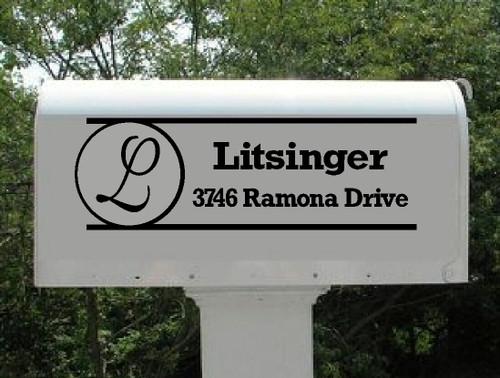 Monogram Mailbox Sticker Decal