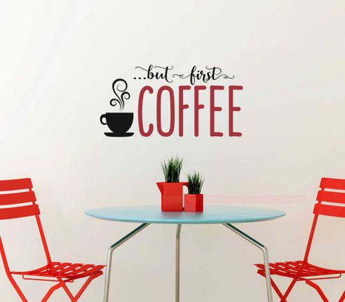 First Coffee Kitchen Sayings Vinyl Lettering Art Wall Decal Stickers-Black, Red