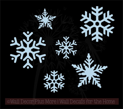 Snowflakes Winter Wall Art Decals Vinyl Stickers for Home Décor Set of 6-Powder Blue