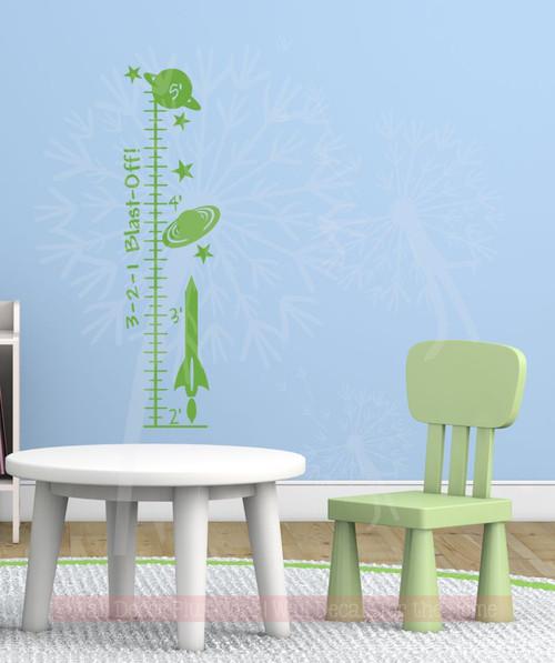 Blast Off Outer Space Rocket Ship Wall Decal Growth Chart Boys ...