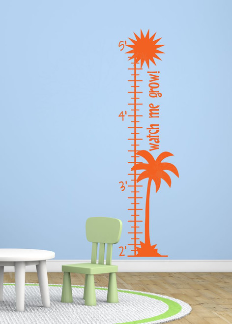 Palm Tree Growth Chart Beachy Wall Art Decal Sticker for Kids Room Décor-Orange