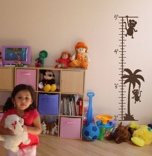 Monkey Growth Chart Wall Decal Sticker Art for Tracking Children's Growth-Chocolate Brown