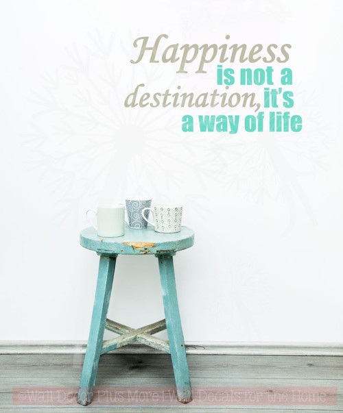 Happiness Its A Way of Life Motivational Quotes Wall Art Decal Stickers