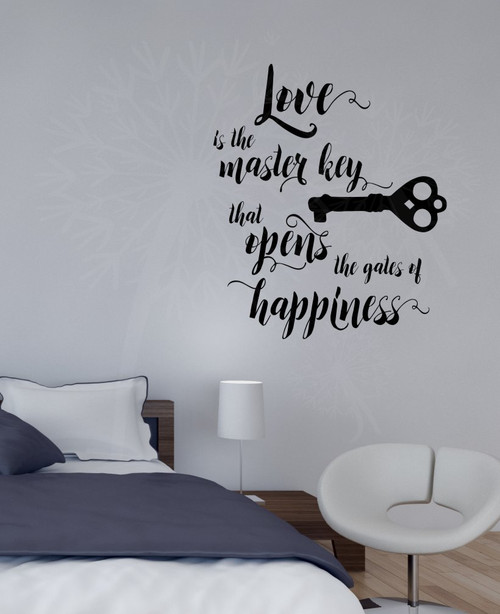 Love is the Key Vinyl Lettering Decals Wall Sticker Art Home Decor Quote-Black