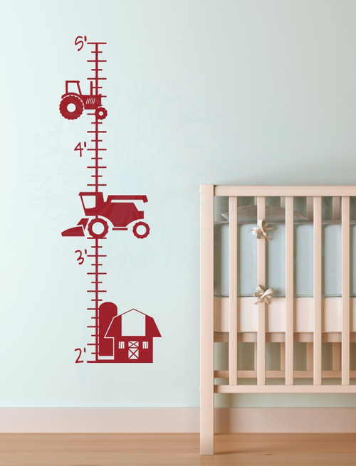 Farm Tractor Growth Chart Vinyl Sticker Decals Boy Bedroom Wall Art Decor-Red
