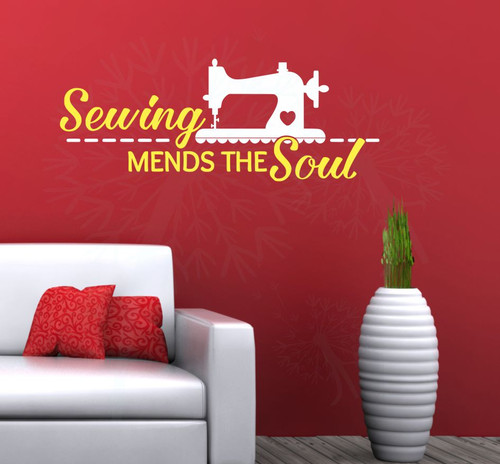 Sewing Mends the Soul Vinyl Lettering Wall Decals Home Decor Quote-White, Light Yellow