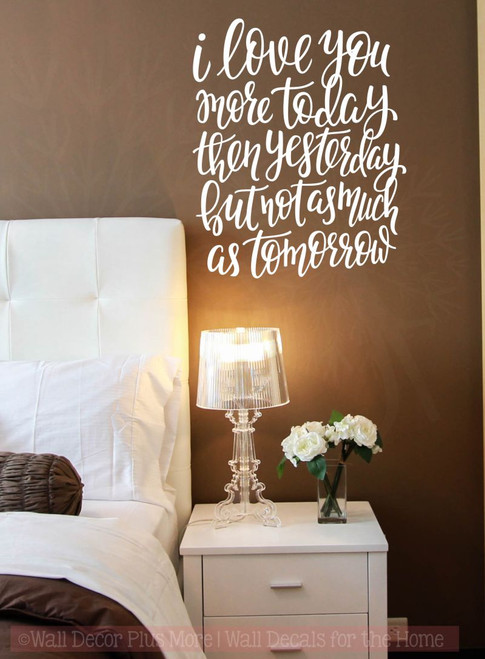Love You More Each Day Wall Stickers Vinyl Lettering Romantic ...