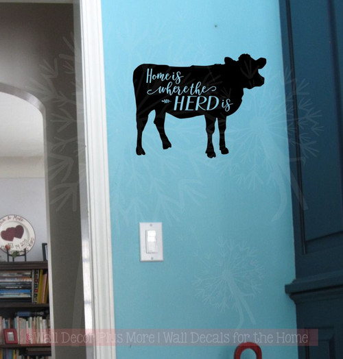 Home Herd Vinyl Decals Wall Art Stickers Quote Cattle Room Decor Stencils Black