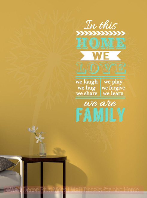 In This Home We Are Family Vinyl Lettering Art Family Wall Decals ...