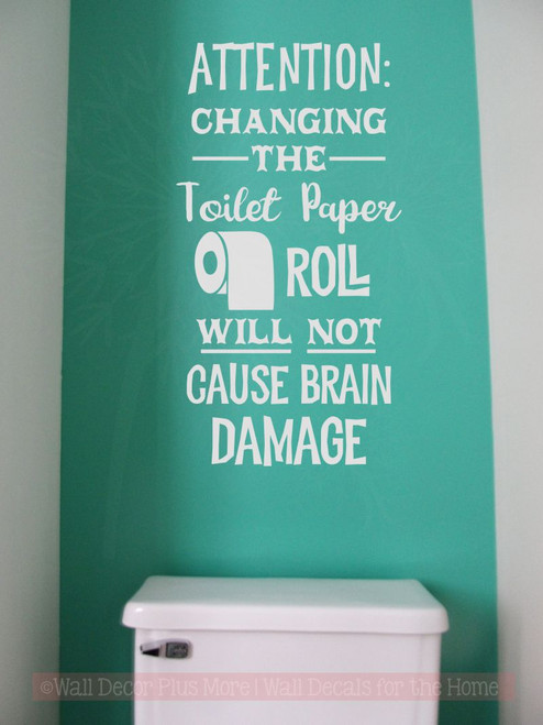 Toilet paper brain damage bathroom humor wall decal letters funny vinyl wall stickers lt gray