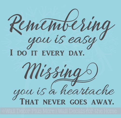 Remembering You Is Easy Tile Vinyl Letter Decals Wall Sticker Quote Memorial Home Decor