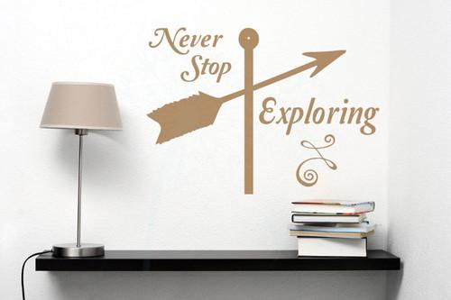 Never Stop Exploring Wall Sticker Art Vinyl Lettering Decals Arrow Home Decor Quote-Tan