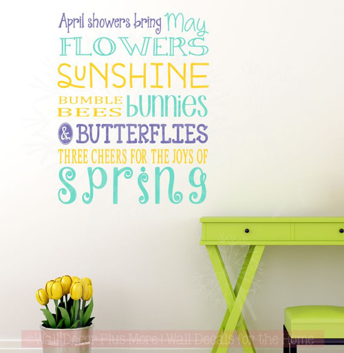Spring Subway Art Vinyl Lettering Art Wall Stickers Decals for Spring Inspirational Home Decor