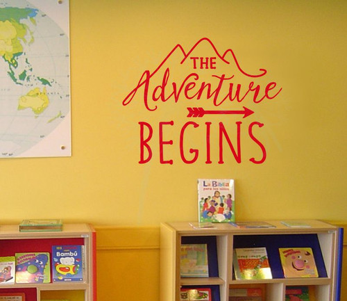 The Adventure Begins Wall Sticker Art Vinyl Letters Decals Arrow Camper Quote-Cherry Red