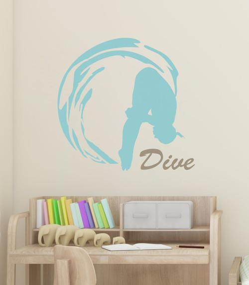 Girl Dive Swimming Wall Sticker Art Vinyl Decals Olympic Girl Bedroom Decor-Beach House, Tumbleweed
