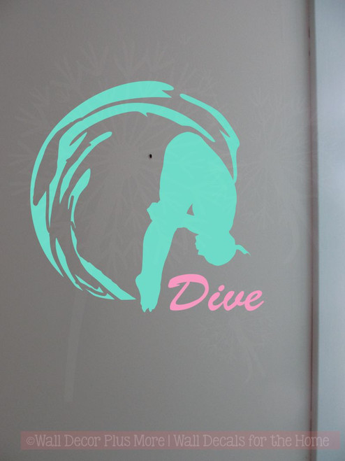 Girl Dive Swimming Wall Sticker Art Vinyl Decals Olympic Girl Bedroom Decor-Mint Green, Soft Pink