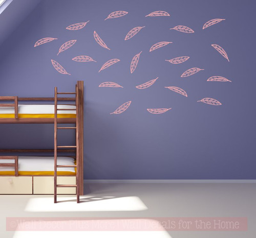 Open Feathers Wall Art Stickers Vinyl Decals Girl Bedroom Shape Decor-Carnation
