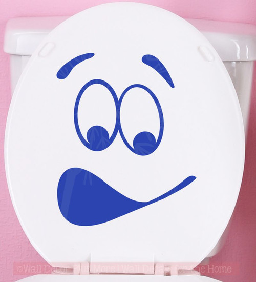 Toilet Face Vinyl Decals Fun Bathroom Sticker Art for Toilet Seat Decor-Brilliant Blue