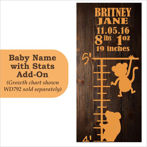 Baby Stats Growth Chart Add-On Personalized Vinyl Lettering Decals Wall Stickers Art Baby Room Decor Rust Orange