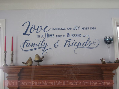 Love Overflows Joy Never Ends Family Home Vinyl Lettering Art Wall Decals Stickers Home Decor Quote-Deep Blue