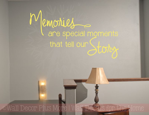 ... Memories Tell Our Story Family Wall Decals Vinyl Lettering Stickers  Home Decor Quote Light Yellow ...