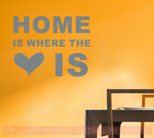 Home Is Where Heart Is Wall Sticker Decals Vinyl Lettering Art Entry Quote-Storm Gray