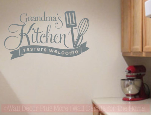 ... Grandmau0027s Kitchen Tasters Welcome Vinyl Wall Decals Kitchen Decor Stickers-Storm ... & Grandmau0027s Kitchen Tasters Welcome Vinyl Wall Decals Kitchen Decor ...