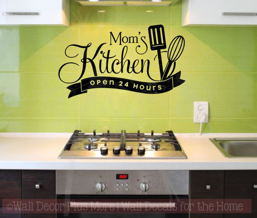 Mom\'s Kitchen Open 24 Hours Vinyl Family Wall Sticker Decals Kitchen Art