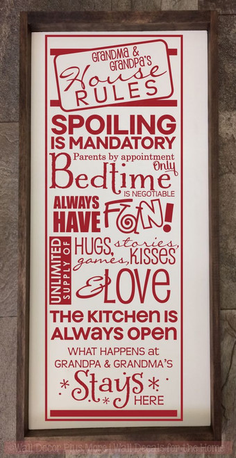 Grandma & Grandpa's House Rules Wall Decals Vinyl Letters Stickers Grandparent Gift-Red