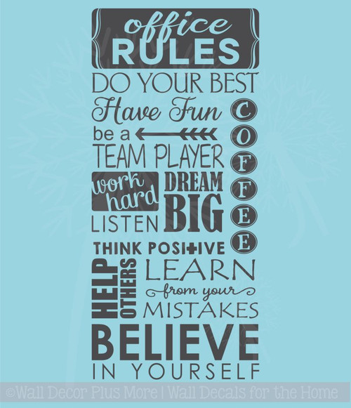 Office rules believe in yourself vinyl lettering art wall sticker office rules believe in yourself vinyl lettering art wall sticker decals work sayings solutioingenieria Image collections