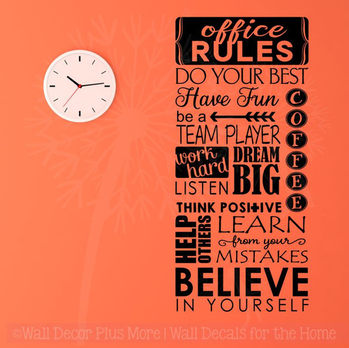 Office Rules Believe In Yourself Vinyl Lettering Art Wall Sticker Decals Work Sayings-Black