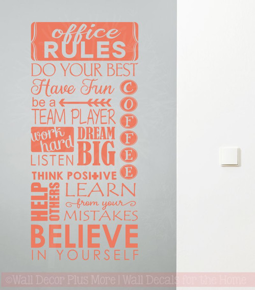 Office rules believe in yourself vinyl lettering art wall sticker office rules believe in yourself vinyl lettering art wall sticker decals work sayings coral solutioingenieria Image collections