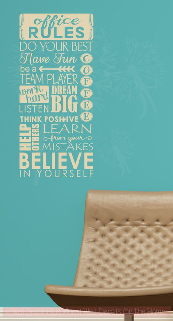 Office rules believe in yourself vinyl lettering art wall sticker office rules believe in yourself vinyl lettering art wall sticker decals work sayings beige solutioingenieria Image collections