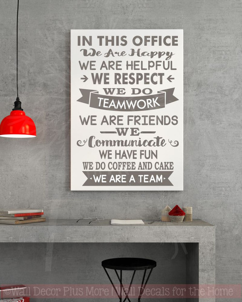 In this office we are team vinyl decals wall stickers art work decor quotes castle