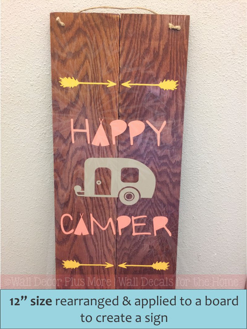 Happy Camper Vinyl Lettering Art Wall Decals Stickers Tribal RV Home With Arrows