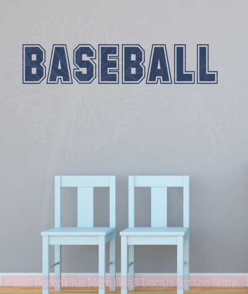 Baseball Sports Lettering Wall Decal Stickers For Kids Bedroom Decor-Deep Blue