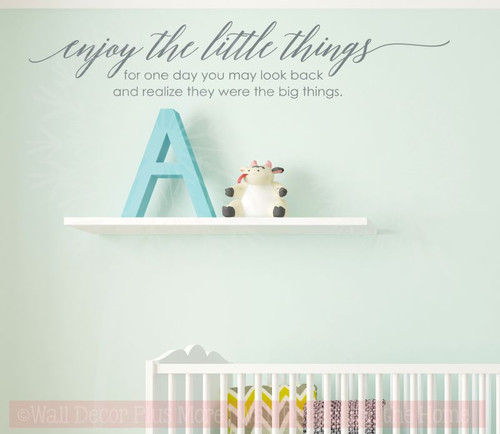 Enjoy Little Things, One Day Realize Big Things Family Wall Decals Vinyl Letters Stickers Inspirational Quote-Storm Gray