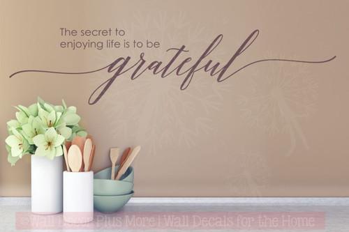 Secret To Enjoy Life, Remain Grateful Wall Sticker Decals Vinyl Lettering Art Inspirational Home Decor-Eggplant