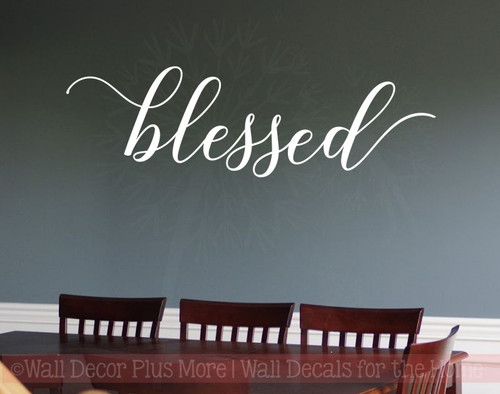 Blessed Cursive Elegant Wall Stickers Decals Vinyl Lettering Kitchen Home Decor Art-White